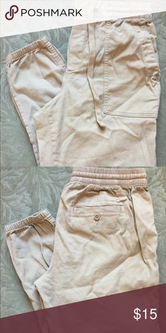 Ankle Length Khaki Joggers Ankle length khaki utility joggers with drawstring and button pockets in the back. Product of Gap. Spring 2017. Original price $40.00 GAP Pants Track Pants & Joggers