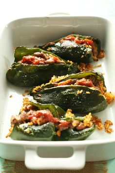 Vegan Stuffed Poblano Peppers - brown rice, onion, salsa, cilantro, pinto beans, ground cumin, try a cashew queso for the optional topping;| Minimalist Baker Recipes