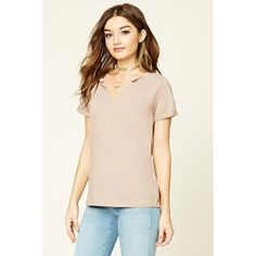 Forever 21 Women's  Split Neck Boxy Tee ($13) ❤ liked on Polyvore featuring tops, t-shirts, split neck tee, forever 21, forever 21 tee, pink tee and forever 21 tops