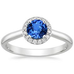 Sapphire Halo Diamond Ring in 18K White Gold, 5.5mm Round Blue Sapphire