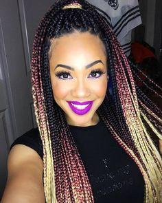 Box Braids With Blonde And Pink Ombre