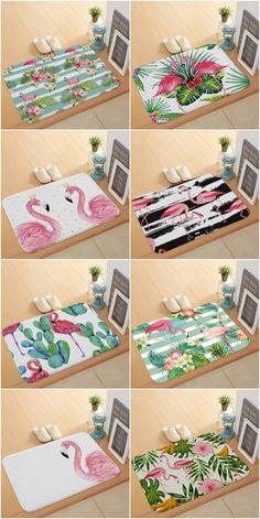 Pink Flamingo Printed Home Decor Door Mat #homedecor #flamingos #pinkflamingos #flamingodecor #pink #rugs #rug