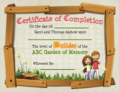 The certificate of completion for the book Planting ABC in a Garden of Memory. If the kids win game two then they are a Keeper of the ABC Garden of Memory. Abc Garden, Certificate Of Completion, Alliteration, Planting, The Book, Kindergarten, Poems, Preschool, Memories