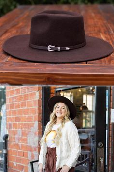 The Dakota by Wyeth features a genuine leather belt with an 80's inspired buckle and a wide flat brim. #hats #hatsforwomen #womenshat #bohohat