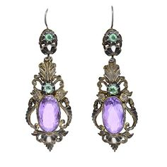 Fantastic amethyst earrings from the Art Nouveau (ca1900) era! Originating from Austria or Hungary.