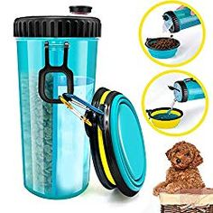 [ iDogiCat Dog Water Bottle for Walking - 2 in 1 Portable Travel Dual Chambered Pets Drinking Cup Dispenser Mug and Food Container with 2 Collapsible Bowls ] Supplies & Watering Supplies Bottles Travel Water Bottle, Pet Water Bottle, Water Bottles, Pet Food Container, Food Containers, Dog Water Bowls, Dog Bowls, Diy Pet, Dog Water Dispenser