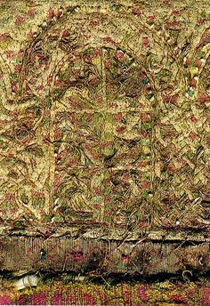 The 'Maaseik Embroideries'. Linen with silk and gold; two panels with arcades, c.63x9.5cm and 66x10cm; two panels with medallions, each c.34x7.5cm; four monograms, each c.12x12cm, Anglo-Saxon, c.800AD. Embroidery in cherry red, beige, green, yellow and light and dark blue silk threads and gold thread, the gold thread strips of pure gold foil wound around a core of horse hair, afterwards flattened; split stitch, stem stitch and surface couching.