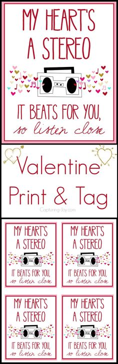 My Heart's a stereo Valentine Free Printable on Capturing-Joy.com