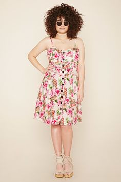 Forever 21+ - A woven cami dress featuring an allover tropical print, sweetheart neckline with a lightly padded bust, adjustable straps, button front, and belt loops.