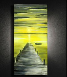 """48"""" x 24"""" x 1.5"""" Original Painting Canvas Modern Wall Art Gray and yellow Dock with Boat Abstract Contemporary Painting. by SusiUhlArt on Etsy"""