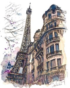 The Eiffel Tower, Paris, France. Travelling, Drawing and Painting. By Akihito Horigome. drawing Travelling, Drawing and Painting Paris Kunst, Paris Art, Building Drawing, Building Sketch, Watercolor Architecture, Architecture Art, Watercolor Sketch, Watercolor Paintings, Eiffel Tower Painting