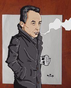 Great Camus portrait by illustrator/cartoonist (thanks ! Albert Camus, Famous Philosophers, Portrait, Cartoon Drawings, Van Gogh, Caricature, Literature, History, Authors
