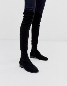 Womens Ladies ASOS Kayden Thigh High Over The Knee Flat Boots Faux Suede UK 3 #ASOS #Chelsea Thigh High Boots Flat, Black Thigh High Boots, Flat Boots, High Heel Boots, Asos, Women's Over The Knee Boots, Leather Heeled Boots, Socks And Heels, Designer Boots