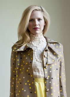 frilly blouse + yellow + polka dots