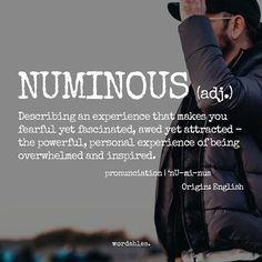 """Wordables on Instagram: """"Numinous ( adj. ) @w.0.r.d"""""""