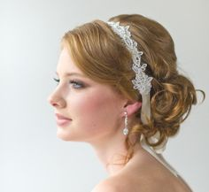 Bridal Ribbon Headband, Bridal Lace Headband, Luxe Satin Ribbon Headband, Wedding Head Piece, Bridal Hair Accessory. $69.00, via Etsy.