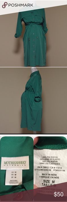 "Green Button Front Maternity Dress or Tunic Front tie. Two front chest pockets, two side pockets. Dress is green and appears teal in some lighting. Bust:  20"" flat across Length: 38"" from shoulder to hem Defects: None Condition: Excellent.  Priced low due to low stock in Maternity items in this closet.  Smoke free home with cats and dogs. Motherhood Maternity Dresses Midi"