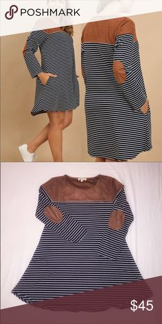 Umgee Plus size dress with suede patches Plus size Umgee USA striped dress with suede shoulders and elbow patches. Fits true to size according to customers.  Only 2 left! Both 1X Umgee Dresses