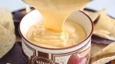 Lusciously creamy and smooth, this hot cheese dip recipe is the easiest thing you'll make for your game day party! Irresistibly cheesy and velvety smooth queso dip with jalapeno, just the way you like it. Perfect for nachos, crackers and bread, Best Party Dip, Party Dips, Hot Cheese Dips, Best Cheese, Dip Recipes, Appetizer Recipes, Appetizers, Best Tortilla Chips, Diy Food