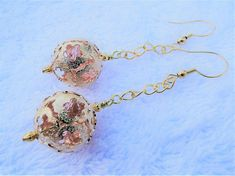 Peachy Pink Caged Crystal Earrings