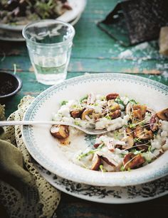 mushrooms goat cheese and pecan risotto