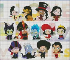 Etsy Shop- Stitch and a Song. Are you a fan of Disney Villains? This cross stitch pattern is perfect for you! It has all of our favorite villainous characters from Scar and