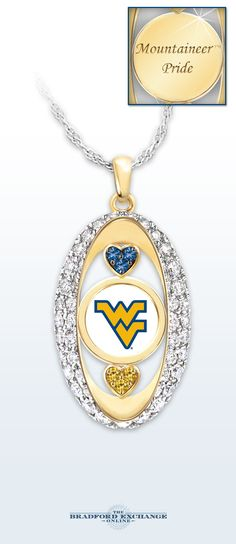 "Sparkling Mountaineers spirit has arrived! The officially-licensed pendant necklace dazzles with 18K gold plating and over 30 Swarovski crystals. Plus, this original jewelry design is engraved on the back with ""Mountaineers Pride"" for the perfect finishing touch."