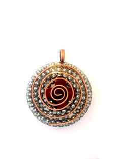 Orgonite Pendant with Mookaite  Crystal Flower, Large Copper Spiral and Silver BBs, Mookaite Crystal, Orgone Energy Pendant, Orgone Necklace by AttunementShop on Etsy