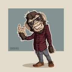 Primate urbano on Behance Tattoo Studio, Gfx Design, Monkey Tattoos, Monkey Art, Dope Art, Cartoon Art, Urban Art, Bunt, Vector Art
