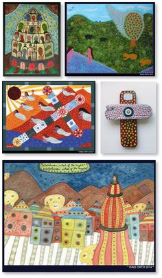 Works by US artist King Orth, one of 99 artists on www.outsider-art-brut.ch or www.aussenseiterkunst.ch
