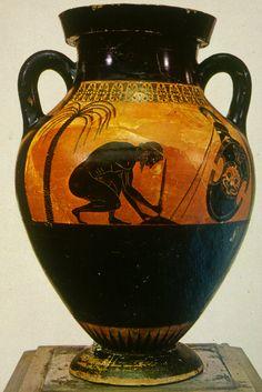 Ajax' suicide after loosing Achilles armour to Odysseus.