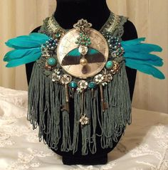 Funky Fringe Necklace, Large Steam Punk Bib, Blue Feather n Butterfly Jewelry.  Vintage Jewelery Recycled Piece.