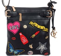 Fun~Trendy~Fashion Messenger Bag~Embroidered Patches~Kitschy~Cross Body~Punk~BLK #Unbranded #MessengerCrossBody