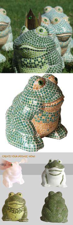 Mosaic Frog - Mosaik Frosch - Mosaique Grenouille - 3D Sculpture Micro Ceramic Tiles - Kit Alea Mosaik