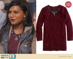 Mindy's red striped top on The Mindy Project. Outfit Details: http://wornontv.net/25755 #TheMindyProject #fashion