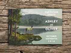 Deer Lake Save the Date Vintage Postcard // Wedding by factorymade, $35.00