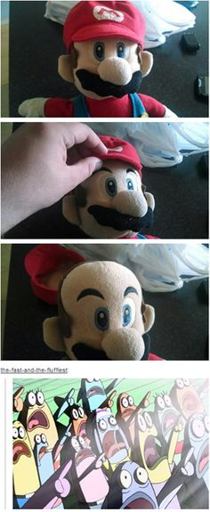 Childhood Ruined #Mario HE IS BALD?? No wait he isn't because he takes his hat off in one of the games, and he has hair...never-mind, my childhood is safe now. And yes I play Mario...dont judgeeee