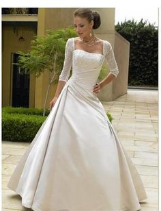 Satin A line strapless Sleeveless Bridal Gown WM-0015