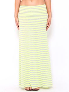 #Neon Stripe Maxi #Skirt