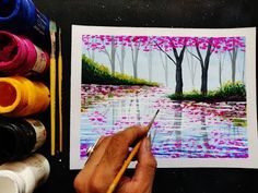 easy poster colour painting Ideas step by step painting tutorial for beginners Poster Color Painting, Poster Paint, Poster Colour, Painting Art, Easy Landscape Paintings, Scenery Paintings, Easy Paintings, Beginner Art, Beginner Painting