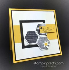 handmade card: Six Sided Sampler Friend Card Idea By Mary Fish  ... black and white with yellow .. luv the crisp lines and graphic look ... Stampin' Up!