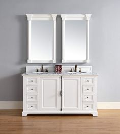 """Providence 60"""" Cottage White Double Vanity with 2 CM Carrara White Marble Top"""