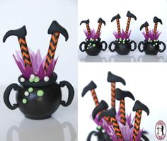 Witch in a cauldron cake-pops - Cake by Tali halloween cakepops ideas Halloween Cake Pops, Halloween Treats, Halloween Cookies, Halloween Party, Biscuit, Christmas Story Leg Lamp, Cauldron Cake, Holiday Cupcakes, Almond Cream