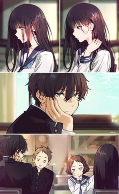 Watching [Hyouka] red-haired girls with bangs with long hair has a beauty, which aahh . it& amazing amor boy dark manga mujer fondos de pantalla hot kawaii Anime Couples Drawings, Anime Couples Manga, Cute Anime Couples, Anime Couples Hugging, Otaku Anime, Manga Anime, Couple Manga, Anime Love Couple, Anime Comics