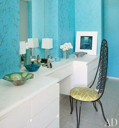 bright blue walls