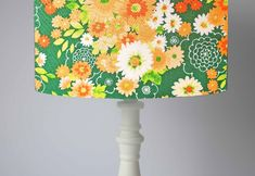 background A beautiful green and orange floral lampshade. This has a lovely classic retro feel to it, a throwback to the Bold and colourful and would make a lovely lampshade or light shade in your home Floral Lampshade, Green Lamp Shade, Floral Room, Floor Standing Lamps, Retro Room, Retro Lamp, Retro Floral, Ceiling Pendant, Green Backgrounds