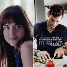 """""""It's a passionate love story with"""" ana watching christian chop up vegetables"""