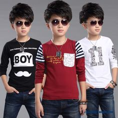 Cheap Boys T-shirt 2016 Spring New Children's Kids Long-sleeved Casual Shirt Sale Online 3d T Shirts, Boys T Shirts, Boys Long Hairstyles, Boys Ties, Shirt Print Design, Bachelorette Shirts, Camisa Polo, Spring New, Stylish Kids