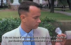 """I don't know if we each have a destiny, or if we are all just floating around accidental-like on a breeze.""  from ""Forrest Gump"""