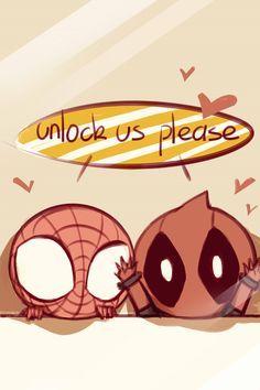 Spiderman and Deadpool Lockscreen- SO CUTE